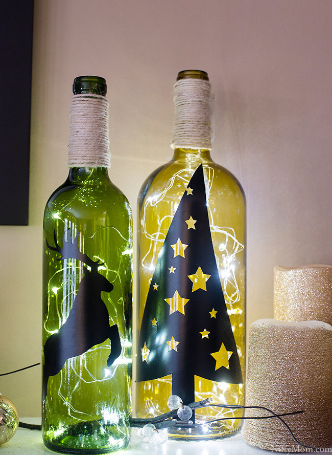 Diy wine bottle holiday decor for Empty bottle decoration ideas