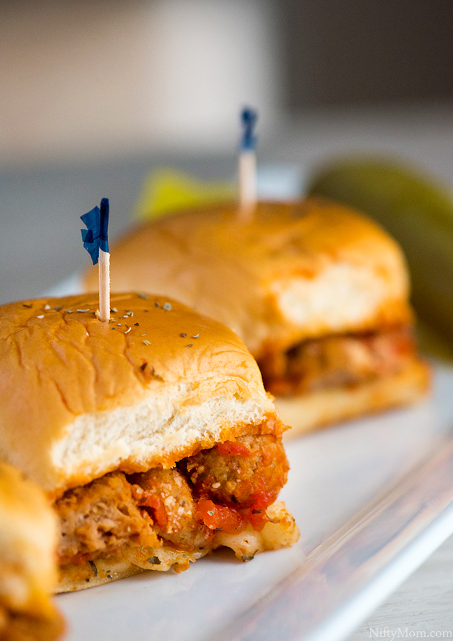 Slower Cooker Sweet & Spicy Meatball Marinara Sliders