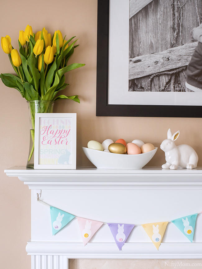 Easter Mantle + How to Make a Stamp & a Spring Bunny Banner