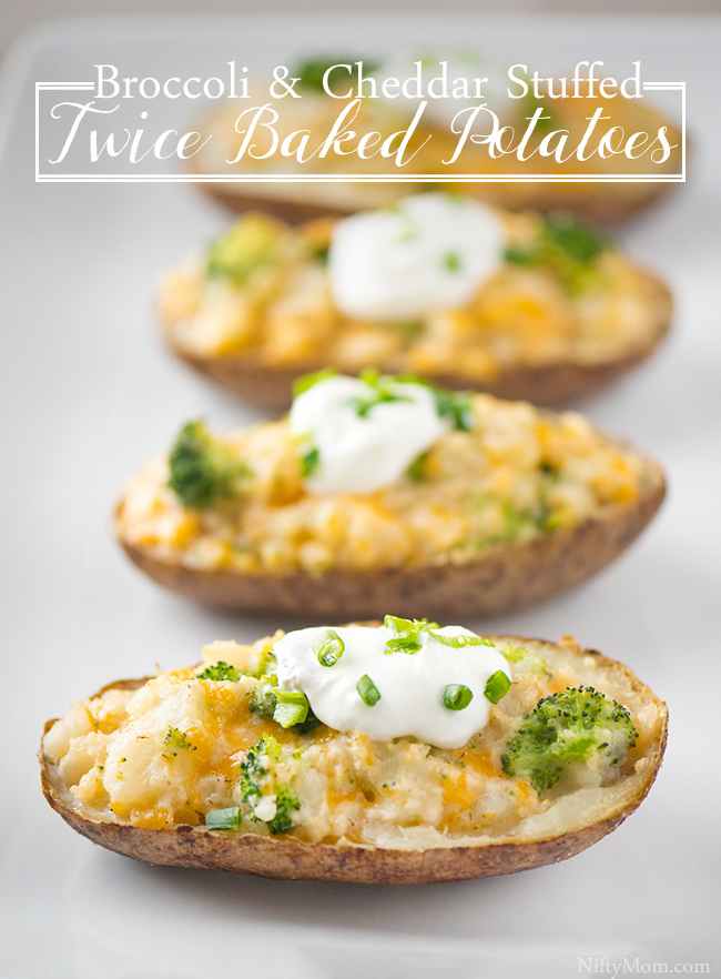 Broccoli & Cheddar Stuffed Twice Baked Potatoes
