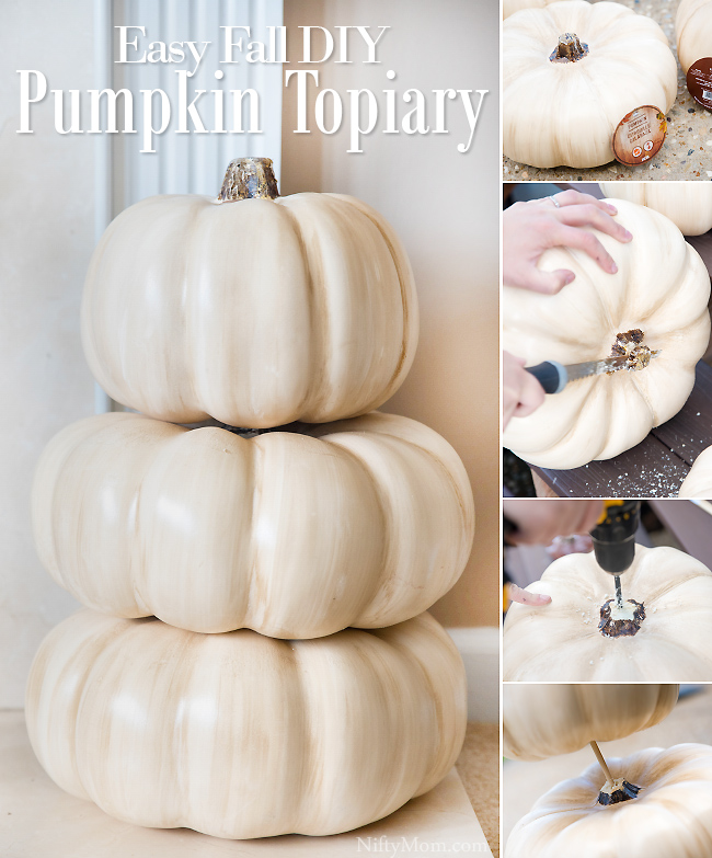 Easy Fall DIY Pumpkin Topiary