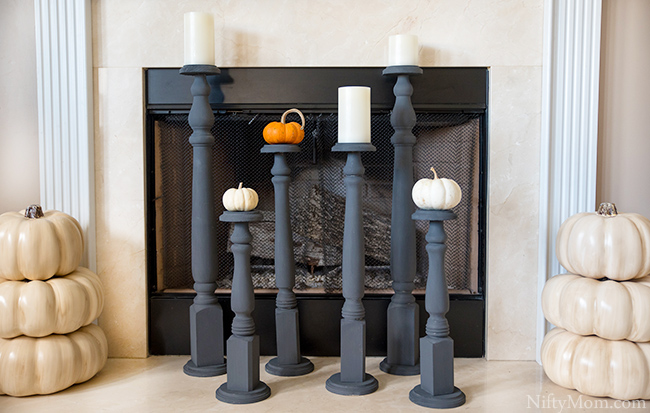 DIY Floor Candle Holders from Wooden Table Legs