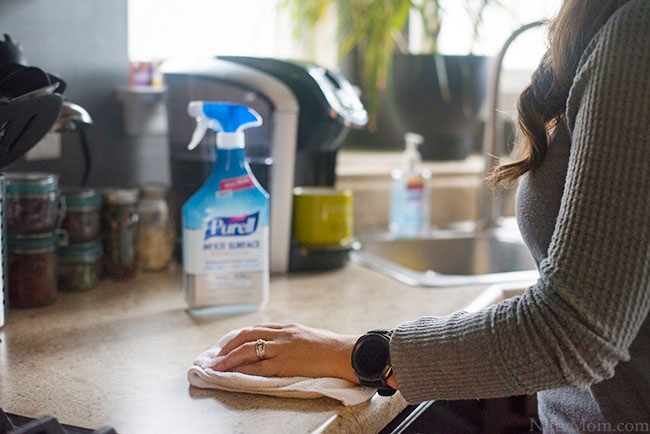 Cleaning the Kitchen with Purell