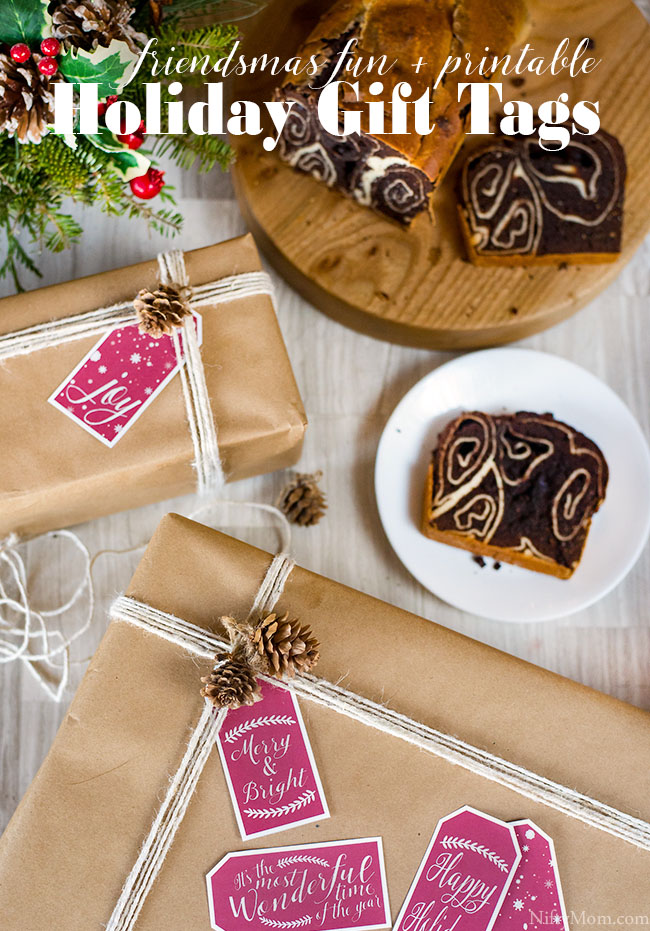 Friendsmas Ideas + Free printable holiday gift tags