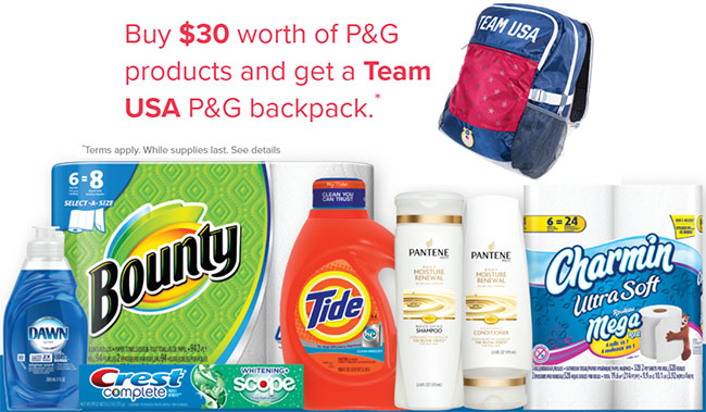 get a free Team USA P&G backpack when you buy $30 of P&G products from 1/23 – 1/30 at Schnucks
