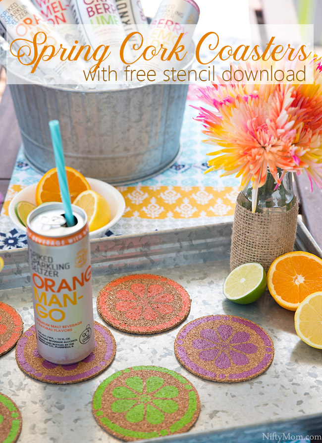 DIY Spring Cork Coasters {with free stencil download}