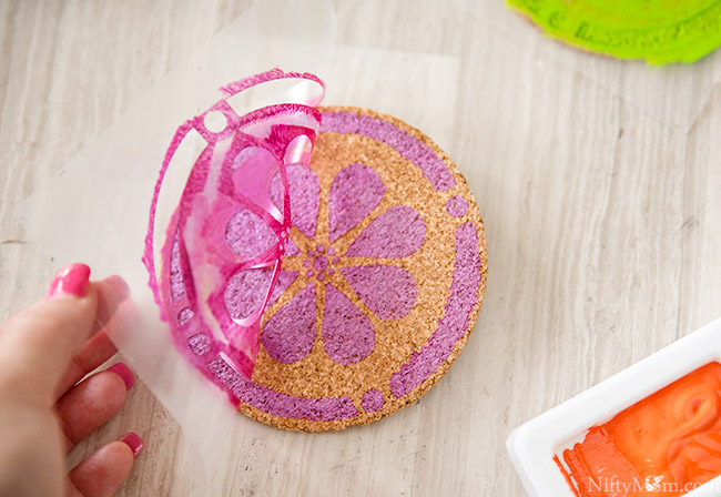 How to make Spring Cork Coasters {with free stencil download}