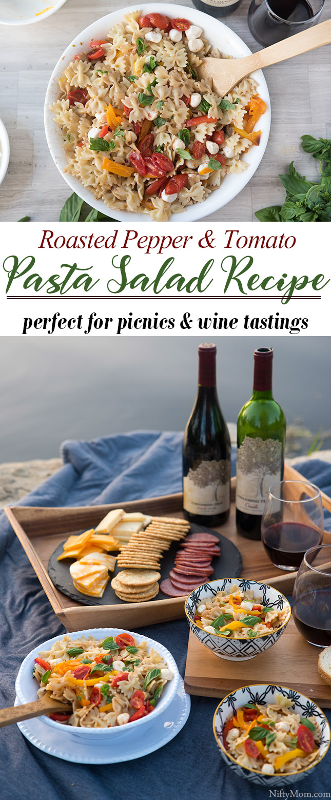 How to Make Roasted Pepper & Tomato Pasta Salad {Great for Picnics} - A tasty cold pasta for wine tastings, picnics, or as a side dish.
