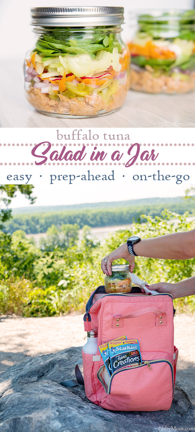 Layered Buffalo Tuna Salad in a Jar {Easy On-the-Go Snack or Meal}