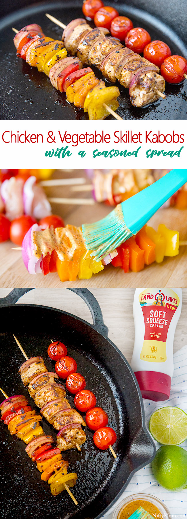 Quick & Easy Dinner - Chicken & Vegetable Skillet Kabobs + a Seasoned Spread