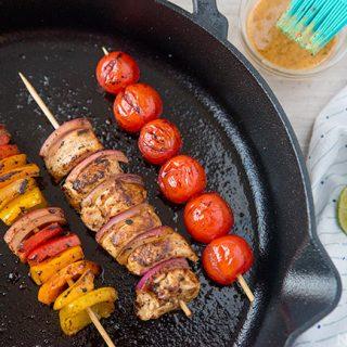 Chicken & Vegetable Skillet Kabobs + a Seasoned Spread