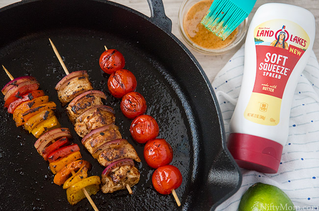 Chicken & Vegetable Skillet Kabobs + a Seasoned Spread