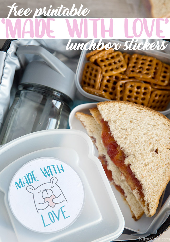 Free Printable 'Made with Love' Lunchbox Stickers - Cute idea for kids lunches!