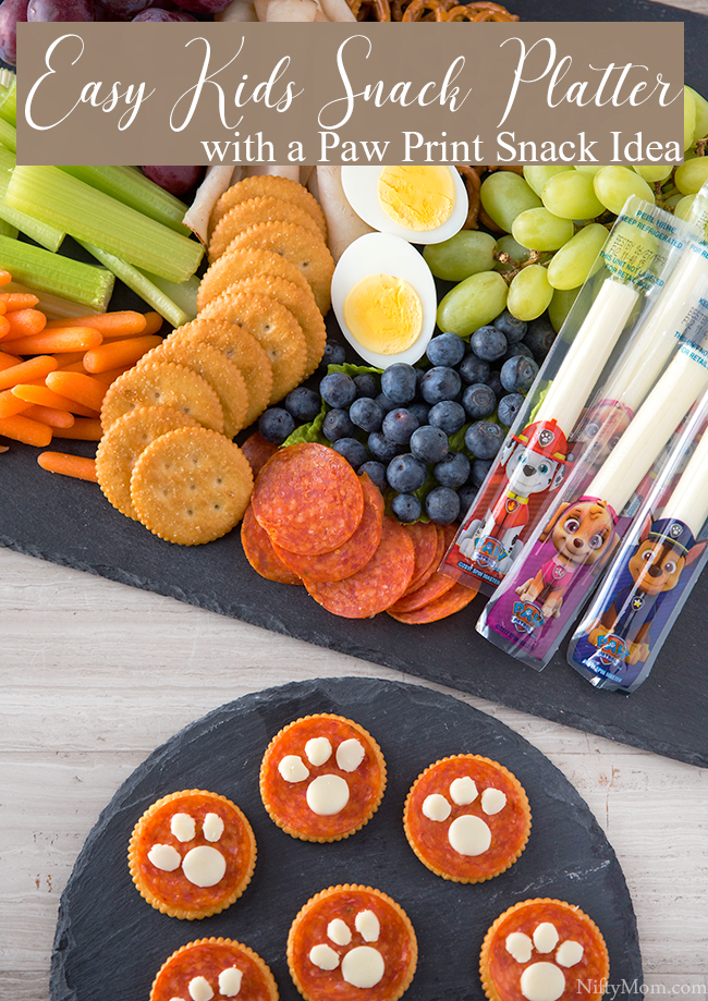 Easy Kids Snack Platter with a Paw Print Snack Idea - Great for PAW Patrol fans!