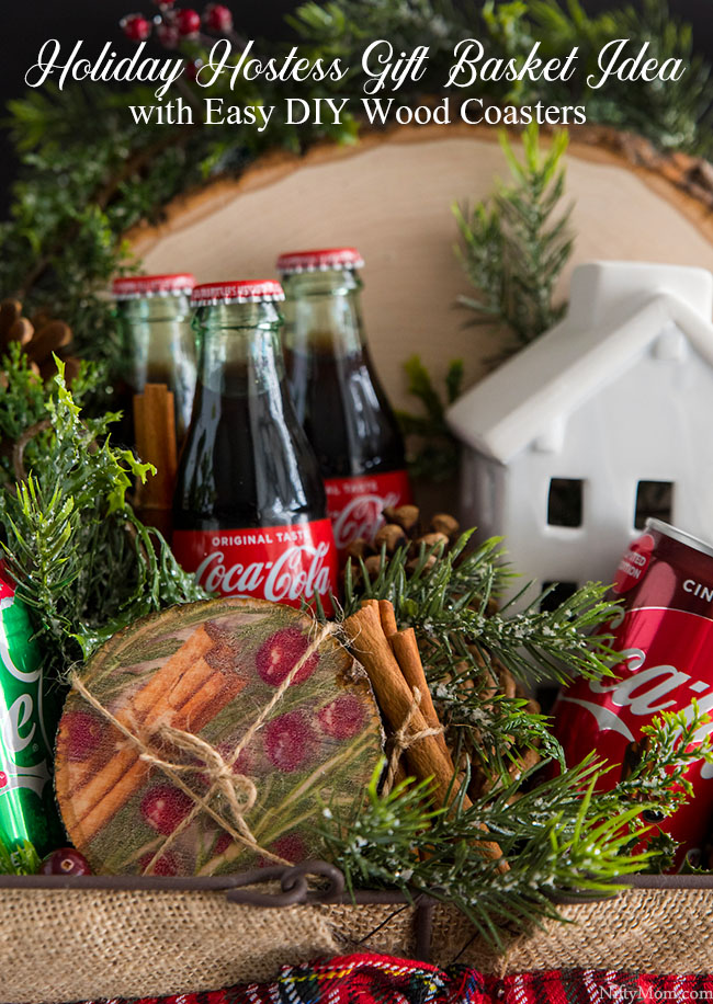 Holiday Hostess Gift Basket Idea + Easy DIY Wood Coasters