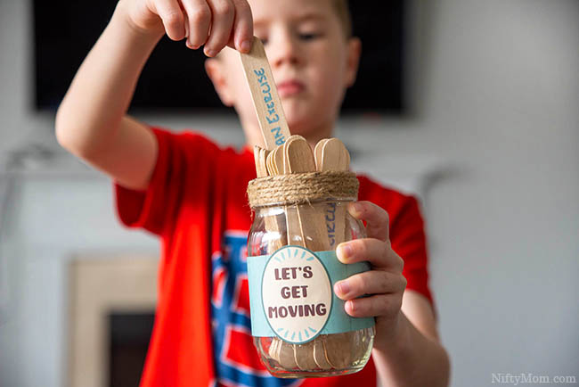 Activity Jar for Kids & 30+ Indoor Ideas to Get Kids Active ( with free printable mason jar wrap)