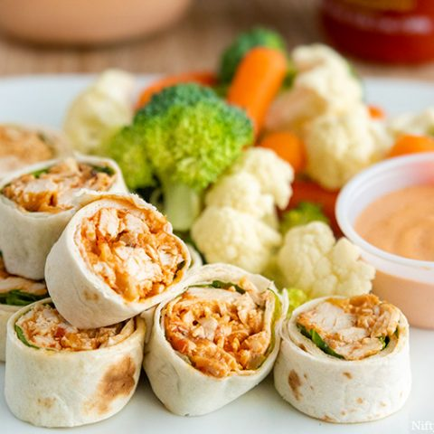 Southwest Chicken Pinwheels with Sriracha Dipping Sauce