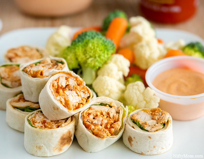 Southwest Chicken Pinwheels with a Sriracha Dipping Sauce